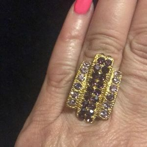 Goldtone adjustable rhinestone pink purple ring
